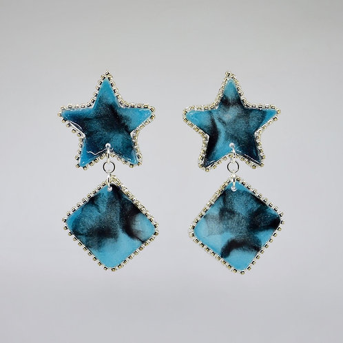 Aqua and Black Rhinestone Star Earrings