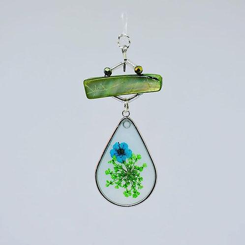 Green Shell Blue Flower Teardrop Earrings