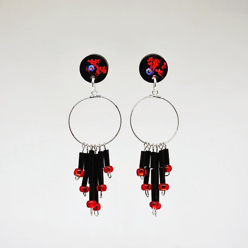 Black and Red beaded Trim Earrings