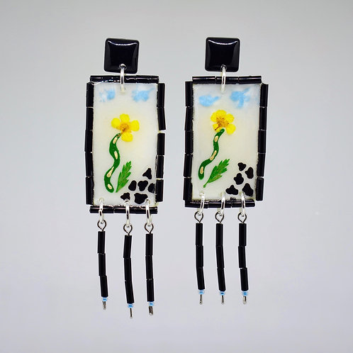 Cow Farm Scene Earrings