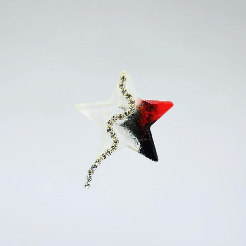 Red and Black Star Earrings