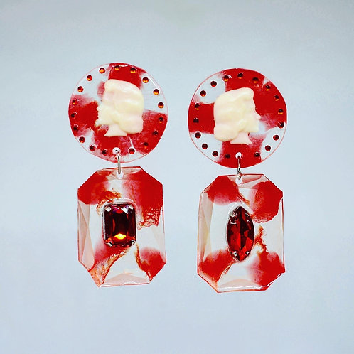 Red and Clear Cameo Earrings