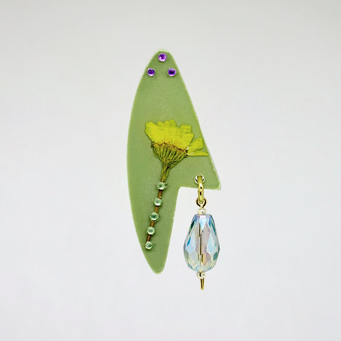 Green and Yellow Flower with Glass Earrings