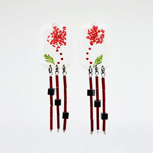 Red Flower and Glass Dangle Earring