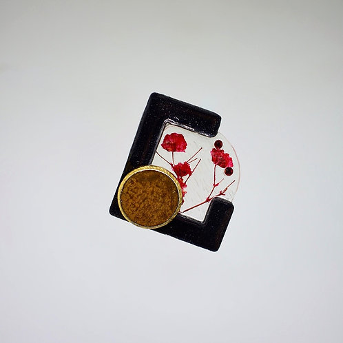 Red Floral and Gold Accent Earrings