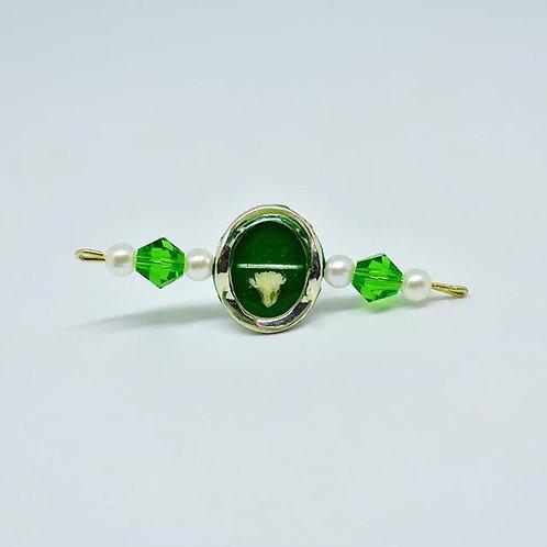 Green and White Flower Climber Earrings