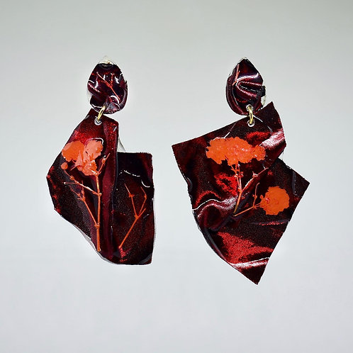Maroon and Burnt Orange Chrome Earrings
