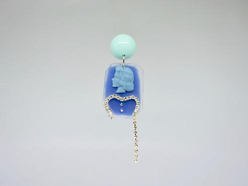 One Sleeve Light Blue Cameo Earrings