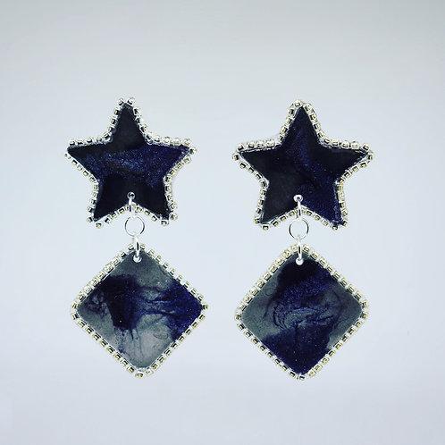 Deep Purple and Grey Rhinestone Star Earrings