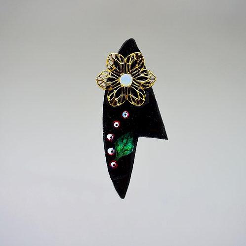 Black Leaf and Red Rhinestone Earrings