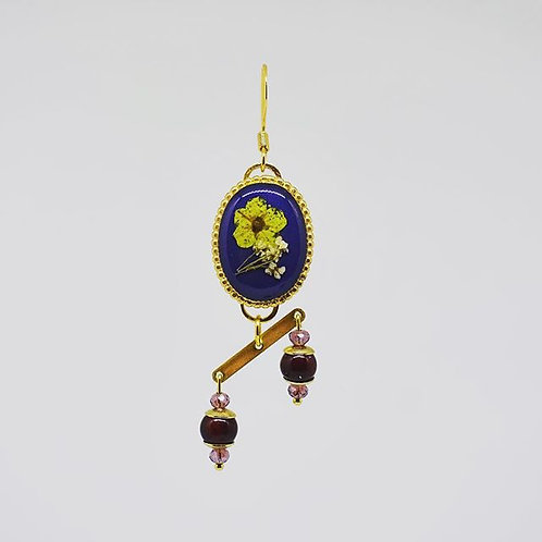 Navy Blue with Yellow Flower Earrings