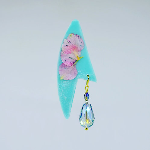 Pink Petal with Light Blue and Glass Earrings