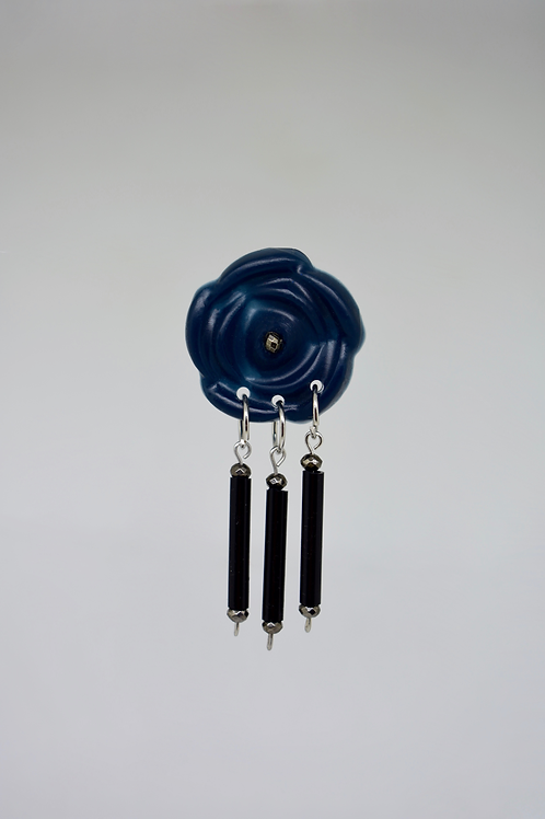 Navy Blue Flower with Black Beads Earrings