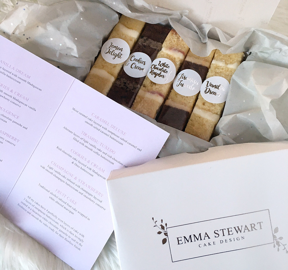 Luxury wedding taster boxes complimentary to couples who have already secured their wedding date, available to order if you want to try in advance or require extra sample. Available for postal delivery.