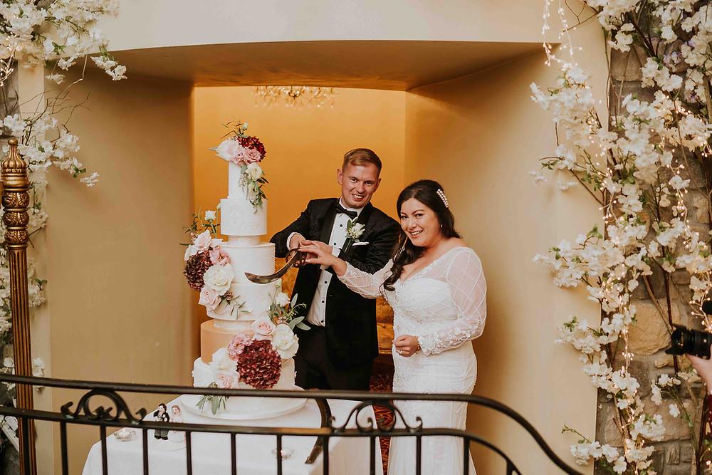 Luxury wedding cake at Cabra Castle in Ireland.