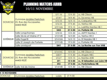 Plannings matchs novembre