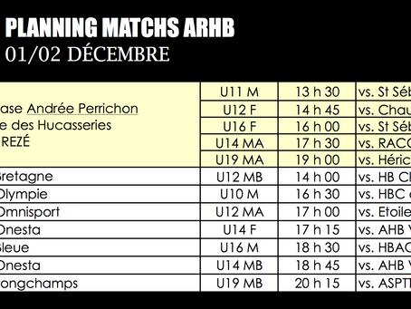 Plannings matchs décembre