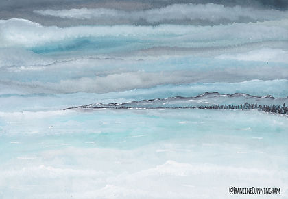 A watercolour painting of a lake frozen over
