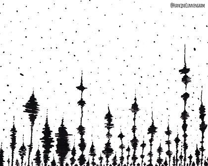 A ink work of black spruce trees