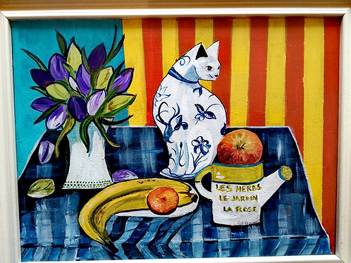 'Cat and fruit' by Gill Repper