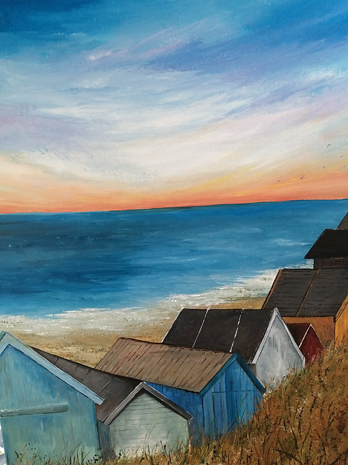 'Wells beach huts at sunset' by Kerry Farr
