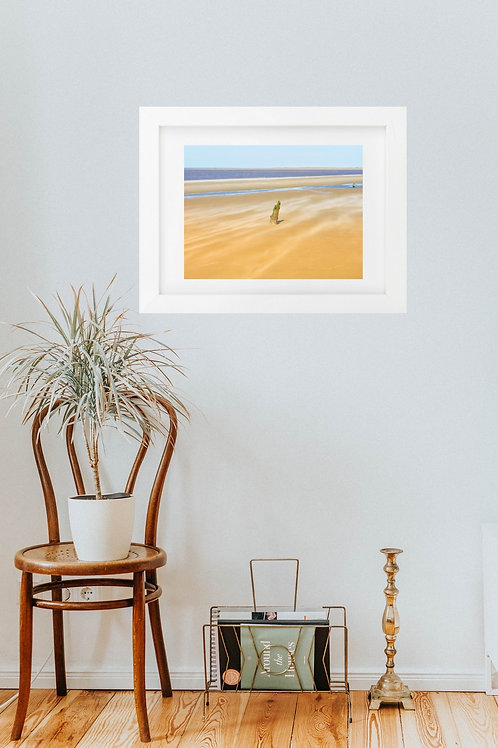 'The last post, Brancaster' gloss photo in 15 inch x 12 inch white frame