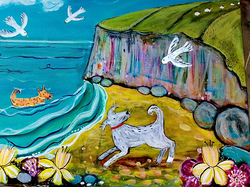 'Seagulls and sandy paws' by Sarah Heather