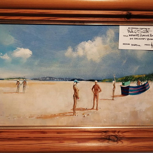 Naturists playing boule on Holkham Beach by Mike Smith
