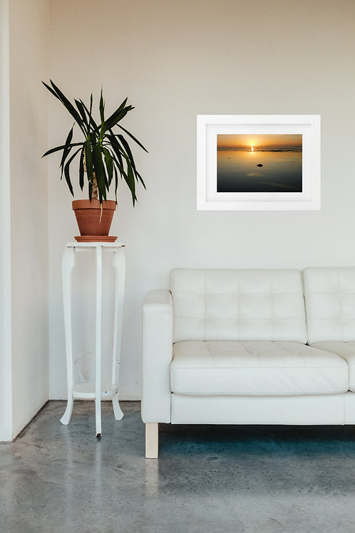 Sun going down Snettisham - A4 mounted and framed print