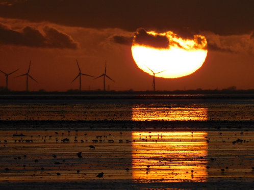 Sunset over Snettisham - A4 mounted and framed print