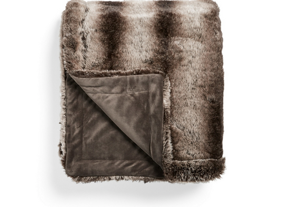 FAUX FUR CHINCHILLA BED BLANKET