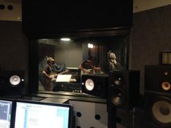 Los Dudes in the studio.