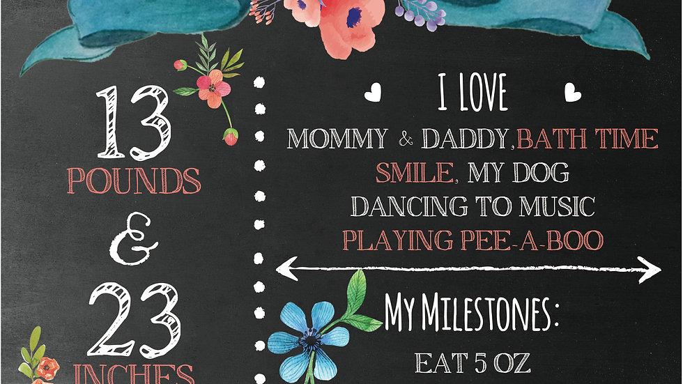 Flower theme baby chalkboard
