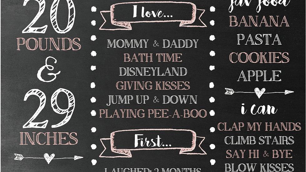 Sweet Pink baby chalkboard
