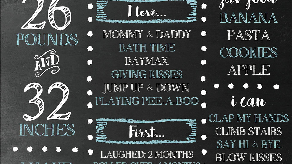 Happy Blue baby chalkboard