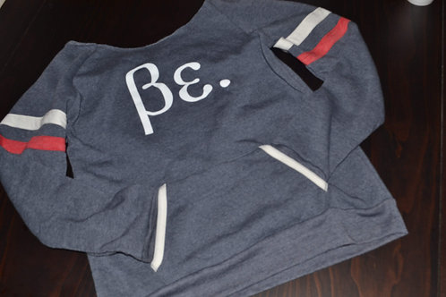 Woman's Navy Blue/Red & White Stripe Wide Neck Be. Sweat Shirt