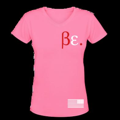 Women's Pink/ White/ Red Bubblegum Be. V-Neck