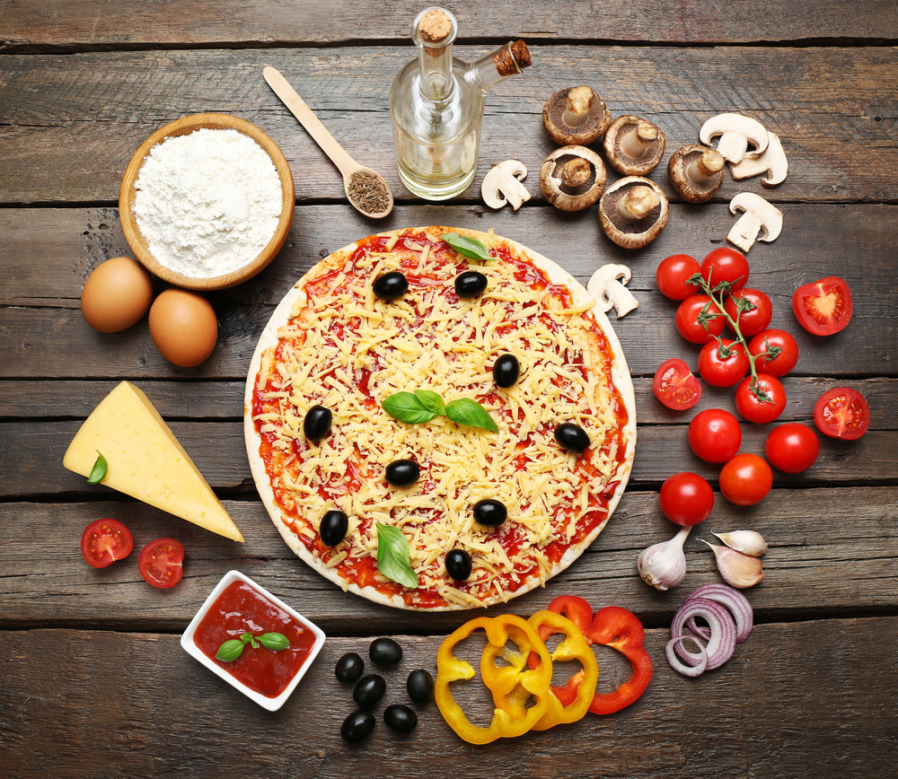 Food ingredients for pizza