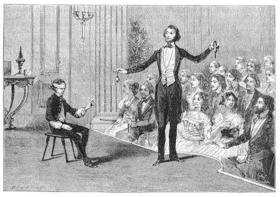 Jean Eugene Robert Houdin performing 'Second Sight' at his theatre in Paris.