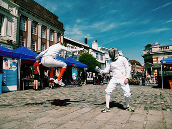 Fencing in Hitchin Town Square