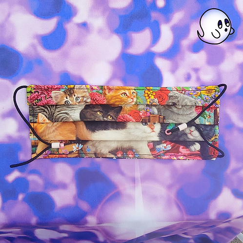 Cats, Flowers and Books Adult Face Mask