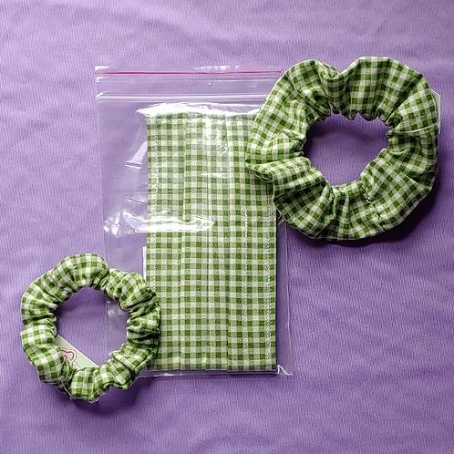 Green Gingham Scrunchie