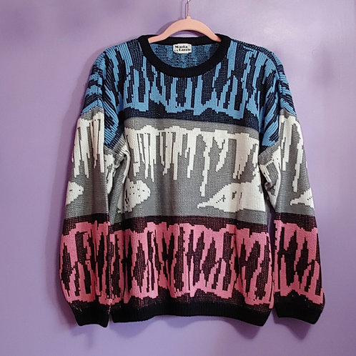Vintage Blue and Pink Marla Carrie Knit Sweater - Large