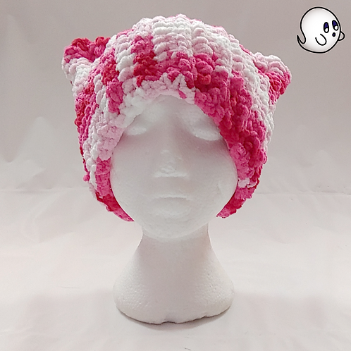 Variegated Pink to Red Crochet Cat Ear Hat