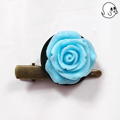 Rose Blue Hair Clip