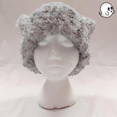 Furry Grey Crochet Cat Ear Hat