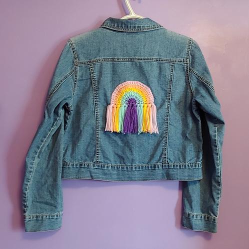Rainbow Crochet Denim Jacket - Child Xlarge (14-16)