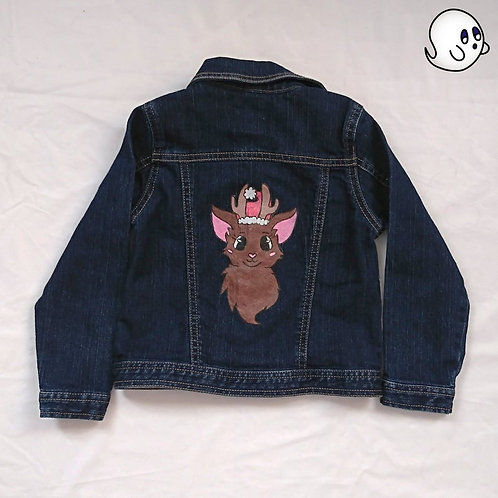 Reindeer Hand Painted Denim Jacket - Toddler 5T