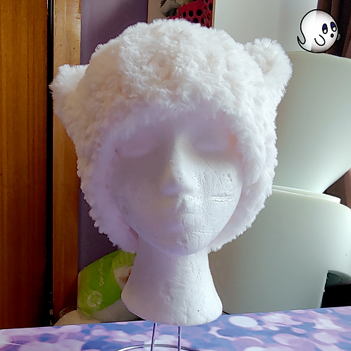 Furry White Crochet Cat Ear Hat
