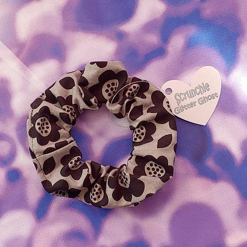 Grey Flower Print Scrunchie